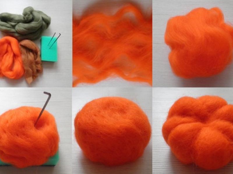 Валяние тыквы из шерсти для начинающи