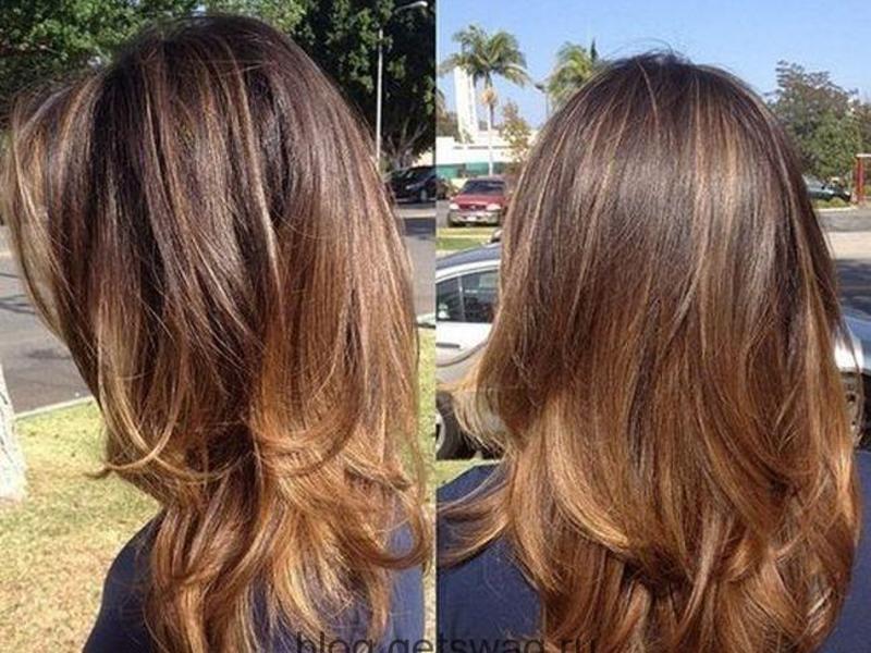 Каскадная стрижка на недлинные волосы